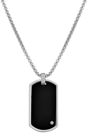 Geoffrey Beene Men's Stainless Steel Engraveable Dog Tag Pendant Box Chain Necklace with Cubic Zirconia Stone (Black) | Amazon.com