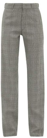 Houndstooth Tailored Twill Trousers - Womens - Grey
