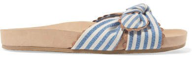 Beattie Bow-detailed Striped Canvas Slides - Blue