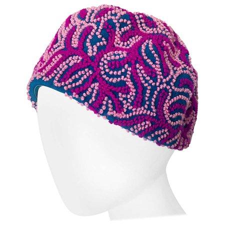 Oleg Cassini 1960s Pink + Fuchsia + Navy Blue Wool 60s Mod Vintage Cloche Hat For Sale at 1stDibs