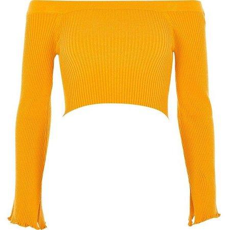 Mustard Yellow Long Sleeve Off Shoulder Crop Top
