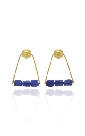 22K Yellow Gold 21st Dynasty Earrings by Loren Nicole | Moda Operandi