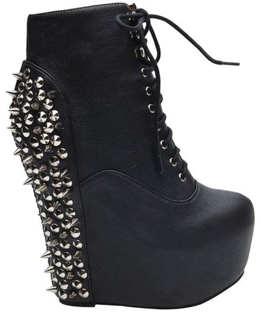 Jeffrey Cambell Black Leather Silver Spike Platform Wedges