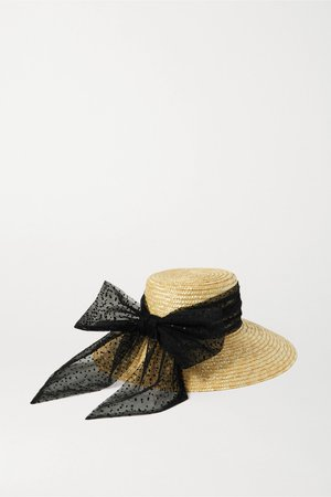 Yellow Annabelle Swiss-dot tulle-trimmed straw hat | Eugenia Kim | NET-A-PORTER