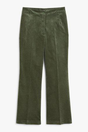 Velvet trousers - Green - Trousers & shorts - Monki