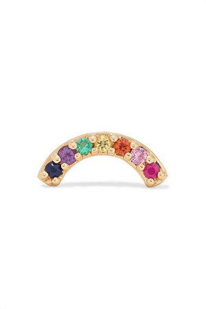 Andrea Fohrman | Single Row Rainbow 14-karat gold multi-stone earring | NET-A-PORTER.COM