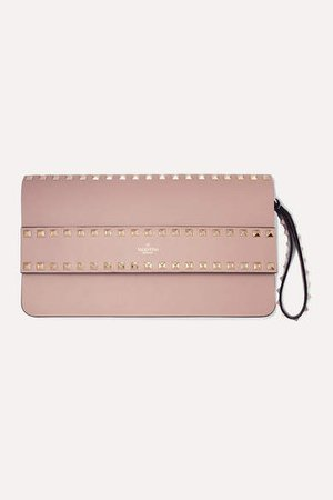 Garavani Rockstud Leather Clutch - Blush