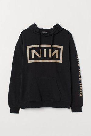 Printed Hooded Sweatshirt - Black/NIN - Men | H&M US