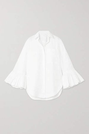 Ruffled Cotton-poplin Blouse - White