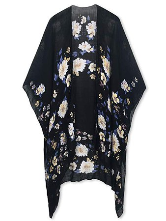 Moss Rose Women's Beach Cover up Swimsuit Kimono Cardigan with Bohemian Floral Print (Black) at Amazon Women's Clothing store: