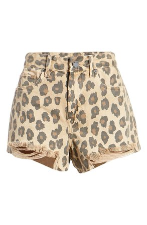 BLANKNYC Barrow High Waist Leopard Print Denim Shorts (Catwalk) | Nordstrom