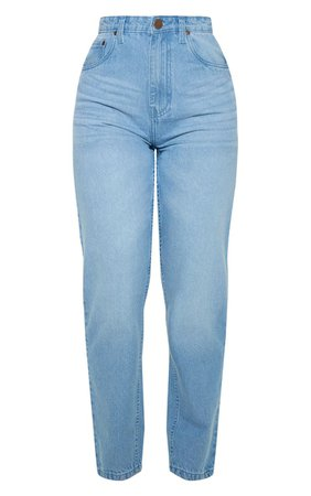 Petite Light Wash Straight Leg Jeans   Petite   PrettyLittleThing