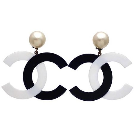 Authentic vintage Chanel earrings Faux Pearl Black White CC logo Dangl | Vintage Five