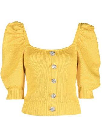 Giuseppe Di Morabito puff-sleeve knitted top yellow SS21079KN79 - Farfetch