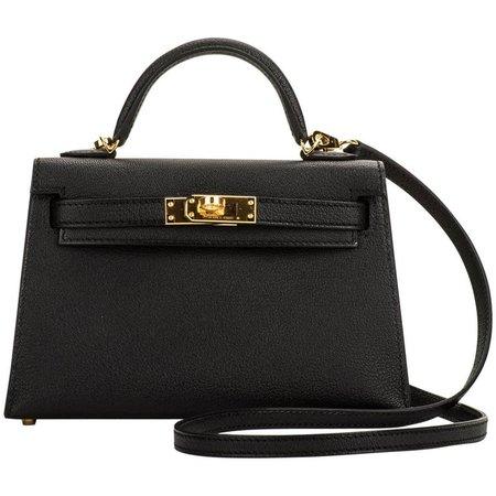 New Hermes VIP Mini Kelly II Black Gold Bag For Sale at 1stdibs