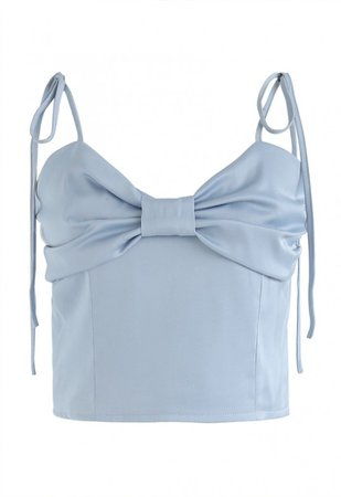 Shirred Sweet Knot Cropped Cami Top in Blue - NEW ARRIVALS - Retro, Indie and Unique Fashion