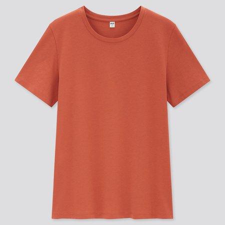 WOMEN SUPIMA® COTTON CREW NECK SHORT-SLEEVE T-SHIRT | UNIQLO US orange