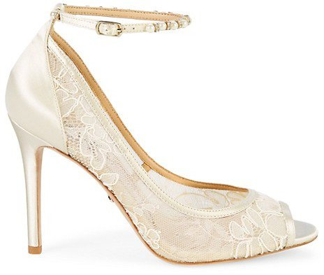 Lesley Embellished Satin Lace Ankle-Strap Pumps