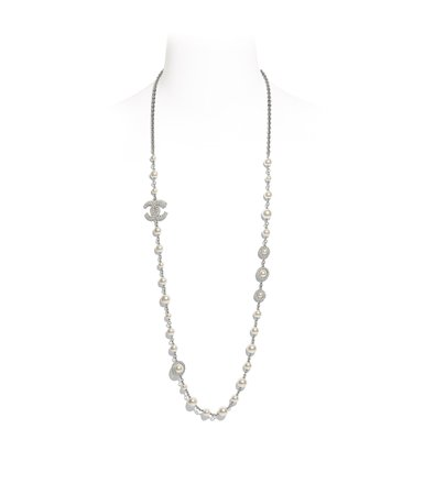 Long Necklace, metal, glass pearls & strass, silver, pearly white & crystal - CHANEL