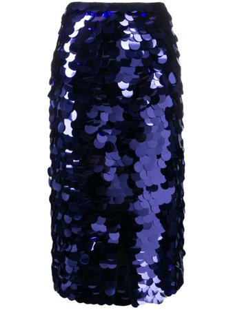 AMI Paris Sequin Embroidered Midi Skirt - Farfetch