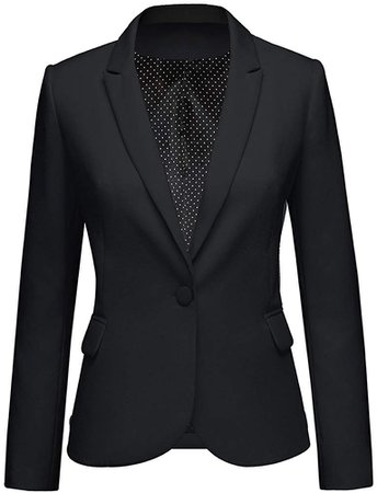LookbookStore Women's Black Notched Lapel Pocket Button Work Office Blazer Jacket Suit Size M at Amazon Women's Clothing store