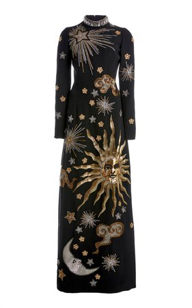 Embroidered Crepe High-Neck Maxi Dress by Andrew Gn | Moda Operandi