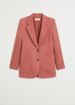 Structured linen jacket - Women   Mango USA rust