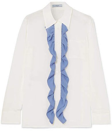 Ruffle-trimmed Silk Crepe De Chine Blouse - White