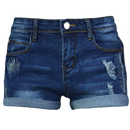 Distressed Denim Shorts (Dark Wash)