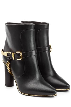 Leather Ankle Boots with Chain Embellishment Gr. FR 40