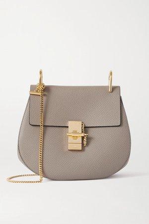 Drew Textured-leather Shoulder Bag - Gray