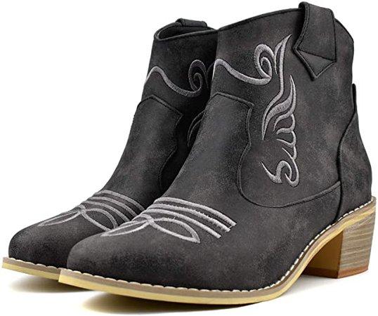 Amazon.com   100FIXEO Women Chunky Mid Heel Zip Up Western Cowboy Ankle Boots Comfort Booties (5.5 (B) M US, Black)   Ankle & Bootie