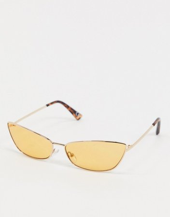 ASOS DESIGN 90s angled sunglasses in gold metal with tinted yellow lens | ASOS