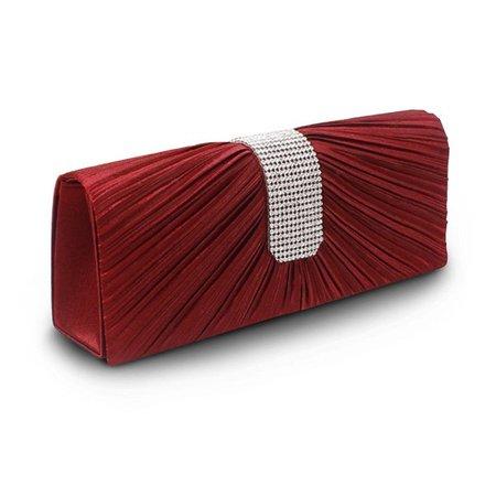 Good Bag Rhinestone Ring Handle Satin Pleated Prom Evening Bag Clutch Handbag Handbag Purse