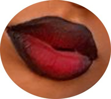 black lip liner with red lipstick