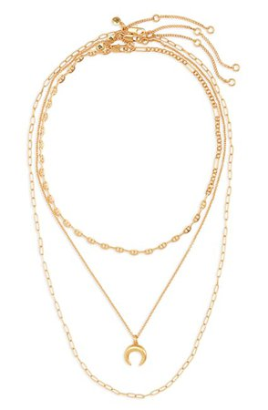 Madewell | Mixed Chain Chunky Crescent Moon Necklace Set | Nordstrom Rack
