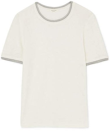 Molly Crochet-trimmed Slub Linen T-shirt - White