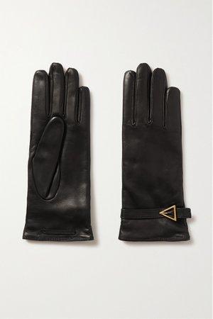 Black Embellished leather gloves   Bottega Veneta   NET-A-PORTER