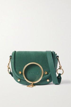 Mara Embellished Suede And Leather Shoulder Bag - Green