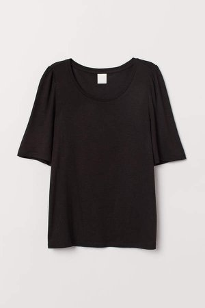Puff-sleeved T-shirt - Black