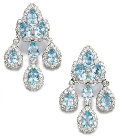 AQUAMARINE AND DIAMOND EAR PENDANTS