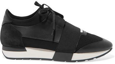 Race Runner Stretch-knit, Mesh, Suede And Leather Sneakers - Black