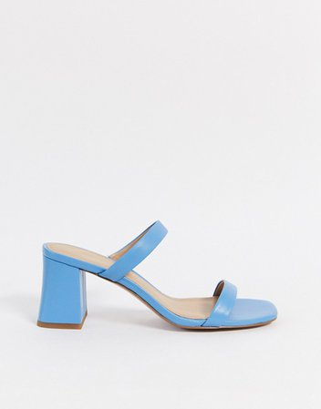 & Other Stories leather square toe heeled sandal in blue | ASOS