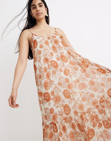 Scoop-Back Cami Midi Dress in Metallic Gathered Blooms