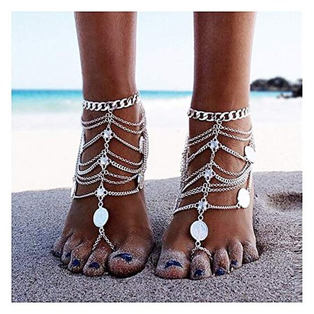 Ankle Chains Barefoot Sandals with Toe Rings