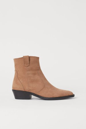 Pointed Ankle Boots - Beige