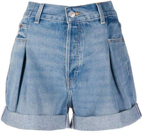 upturned-hem denim shorts