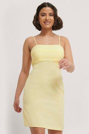 Tight Spaghetti Dress Yellow   na-kd.com