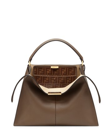 Fendi Peekaboo X-Lite Soft Calf Satchel Bag with FF Interior | Neiman Marcus