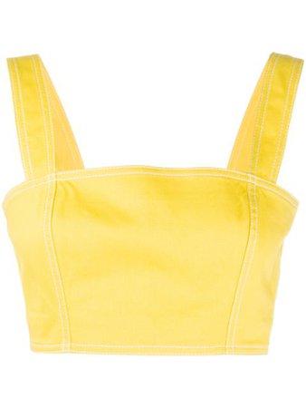 Balmain Square-Neck Bralet Top TF00002D022 Yellow   Farfetch